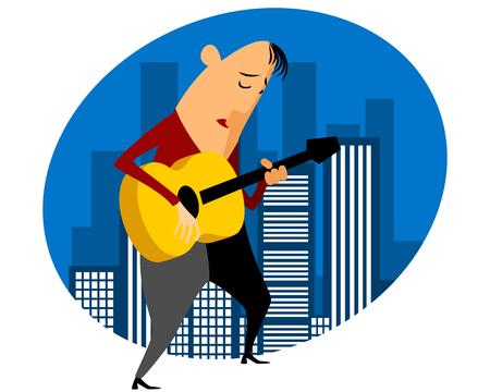bard: Vector illustration of a singer gives concert Illustration