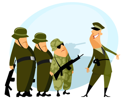 commander: Vector illustration of a platoon and commander Illustration