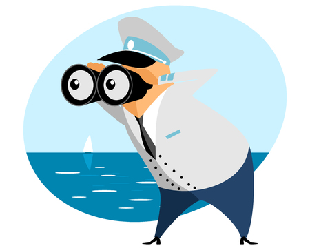 Vector illustration of a captain with binoculars