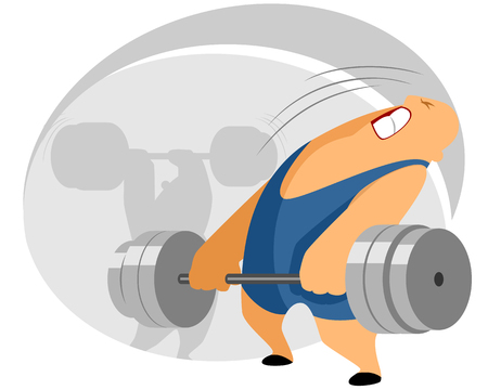 weightlifter: Vector illustration of a weightlifter with barbell Illustration