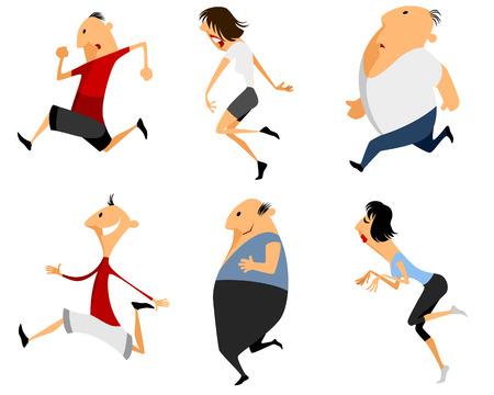 Vector illustration of a six running man