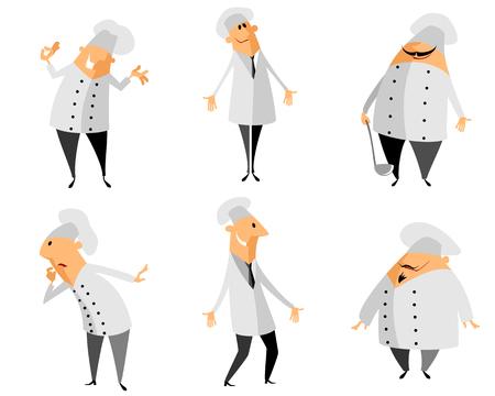 baker cartoon: Vector illustration of a six chef set