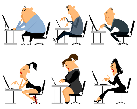 people laptop: Vector illustration of a six office worker set