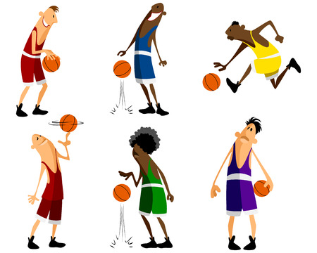 happy young: Vector illustration of a six basketball players