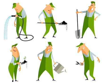watering hose: Vector illustration of a six gardeners set Illustration