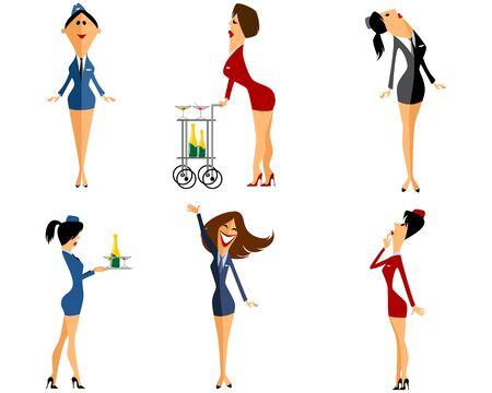 airplane girl: Vector illustration of a six stewardess set Illustration