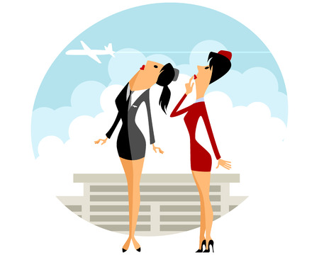 stewardess: Vector illustration of a two stewardess in airport