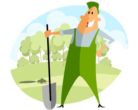 planting: Vector illustration of a gardener planting tree Illustration