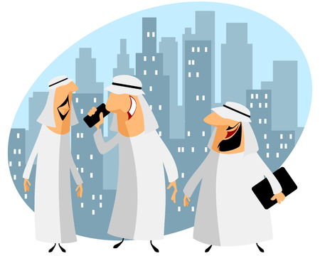 male face: Vector illustration of a three arabic businessmen