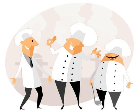 kitchen cartoon: Ilustraci�n vectorial de un chef en la cocina