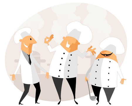 men cartoon: Vector illustration of a chef in the kitchen
