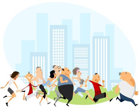 athlete cartoon: Vector illustration of a people running marathon