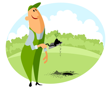 seedlings: Vector illustration of a gardener planting seedling Illustration