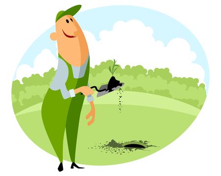 seedling: Vector illustration of a gardener planting seedling Illustration