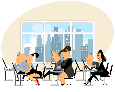 woman sleep: Vector illustration of a people working in office Illustration