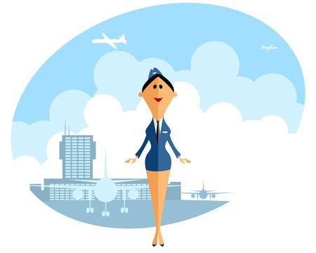 stewardess: Vector illustration of a  stewardess in airport Illustration