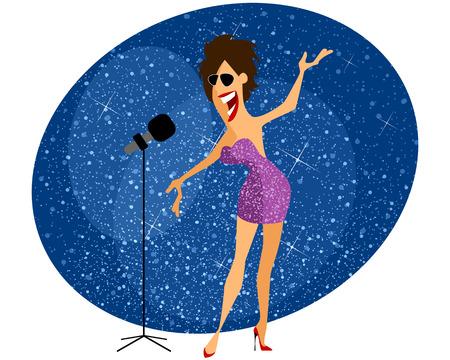 pop singer: Vector illustration of a singer gives concert Illustration