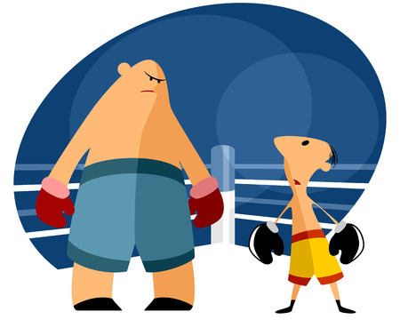 people in action: Vector illustration of a two boxers on the ring