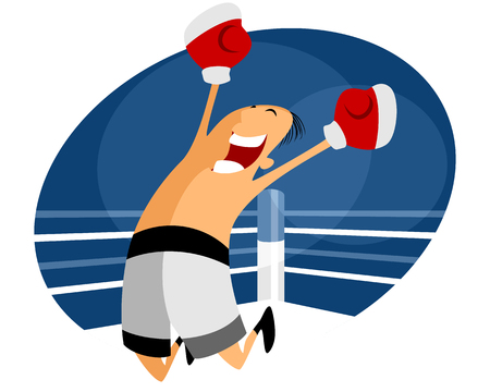 gleeful: Vector illustration of a jumping boxer in white shorts