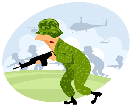 soldier with rifle: Vector illustration of a soldier with machine gun