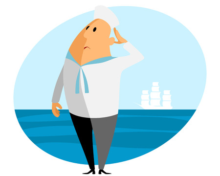 mariner: Vector illustration of a sailor and sea