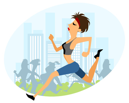 running woman: Vector illustration of a girl running marathon Illustration