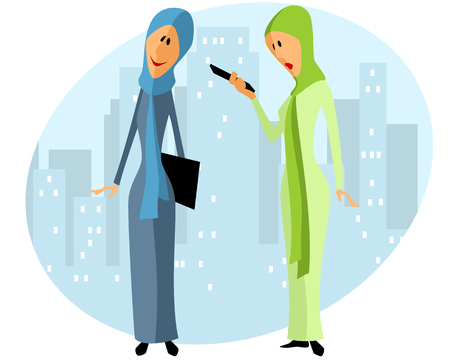 cute girl: Vector illustration of a two muslim businesswomen Illustration