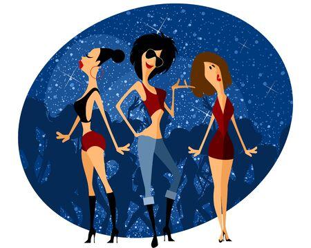 tanzen cartoon: Vector Illustration eines drei M�dchen auf Party