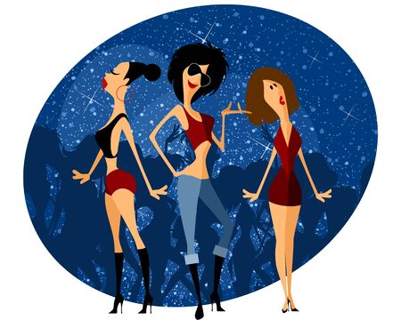 party cartoon: Vector illustration of a three girls on party