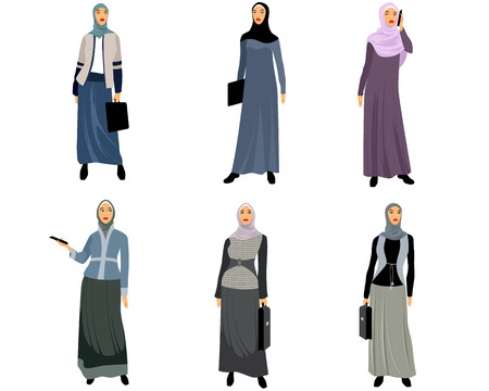 girl happy: illustration of a six modern muslim women Illustration