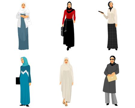 illustration of a six modern muslim women Illustration