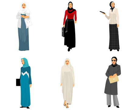 telephone cartoon: illustration of a six modern muslim women Illustration