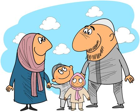 father and child: illustration of a good muslim family