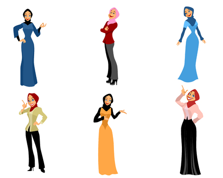 girl happy: illustration of a six modern women