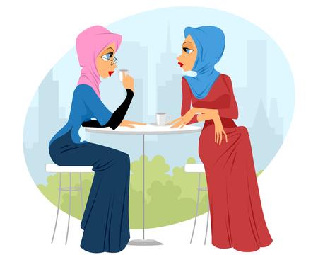 young girl: illustration of a two girls in cafe
