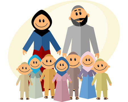girl  child: illustration of a big muslim family