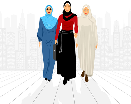 attractive girl: illustration of a three businesswomen in city