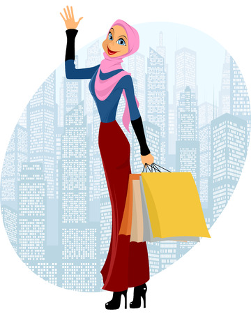 cute girl cartoon: illustration of a muslim girl shopping Illustration
