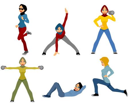 illustratie van een zes moslimmeisjes training