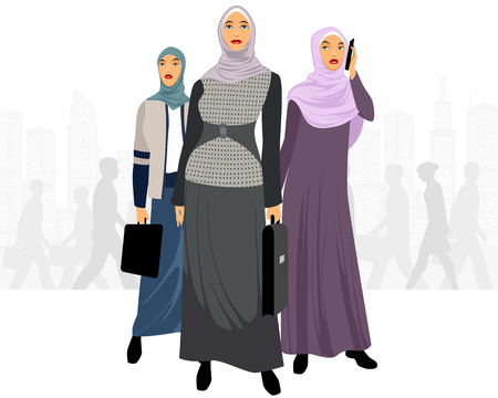 woman cellphone: illustration of a three businesswomen in city