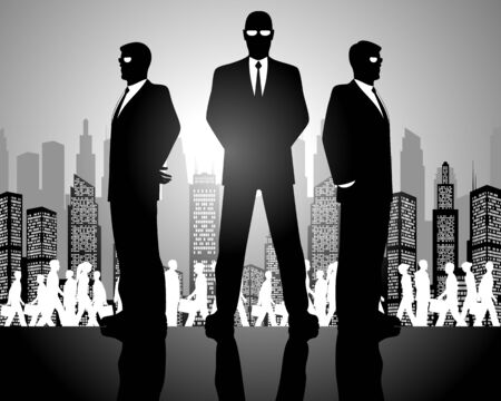 Vector illustration of a three businessmen silhouettes Ilustrace
