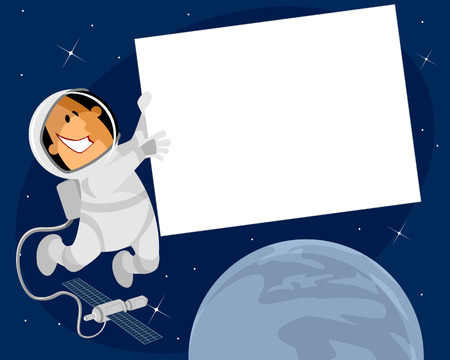 spacesuit: Vector illustration of a cosmonaut with banner