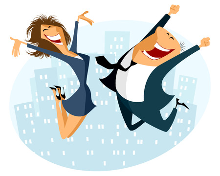 happy business woman: Vector illustration of a businessman and businesswoman jumping