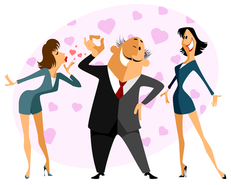 jealousy: Vector illustration of a funny love triangle