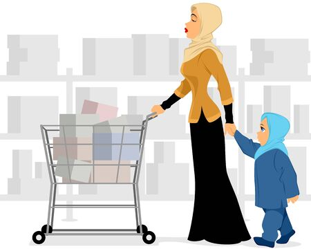 well dressed woman: Vector illustration of a muslim mother and daughter shopping