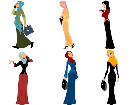 Vector illustratie van een zes moderne moslima Stock Illustratie
