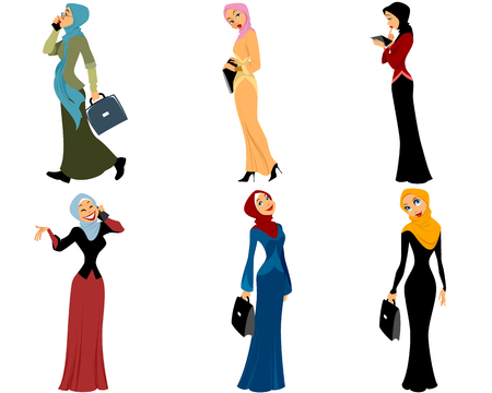 Vector illustration d'un six femmes musulmanes modernes Vecteurs