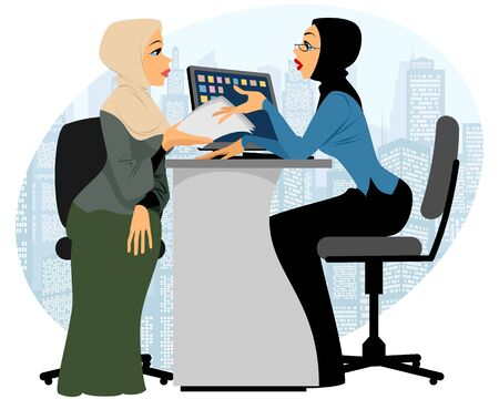 job offers: Vector illustration of a woman offer contract Illustration