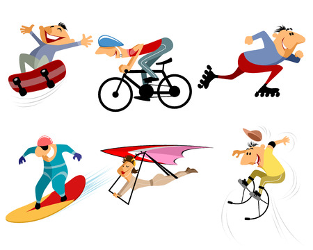 skatepark: Vector illustration of a six sportsmans set Illustration