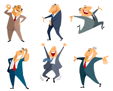 Vector illustration of a six businessman jumping